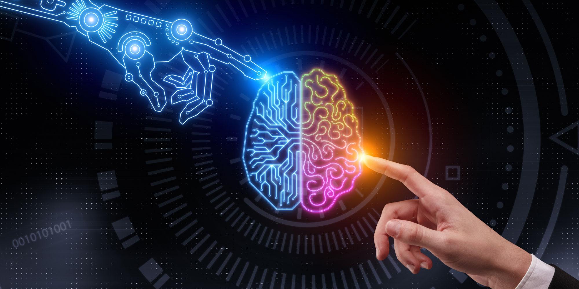 Immagine connessione tra intelligenza umana e intelligenza artificiale